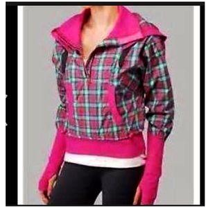Lululemon Run Reflection Pullover Pink Plaid Sz 6